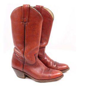 Frye Vintage Rust Brick Red Western Cowboy Boots